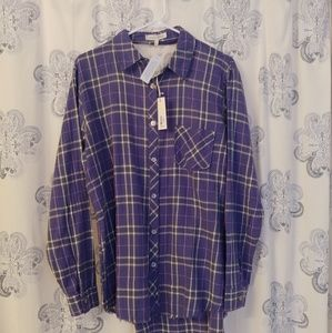 Purple plaid cutout back shirt NWT!!!